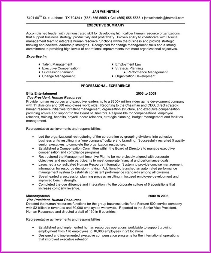Hr Executive Sample Resume Format