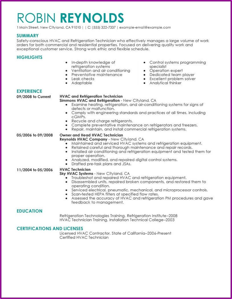 Hvac Installer Job Description Resume