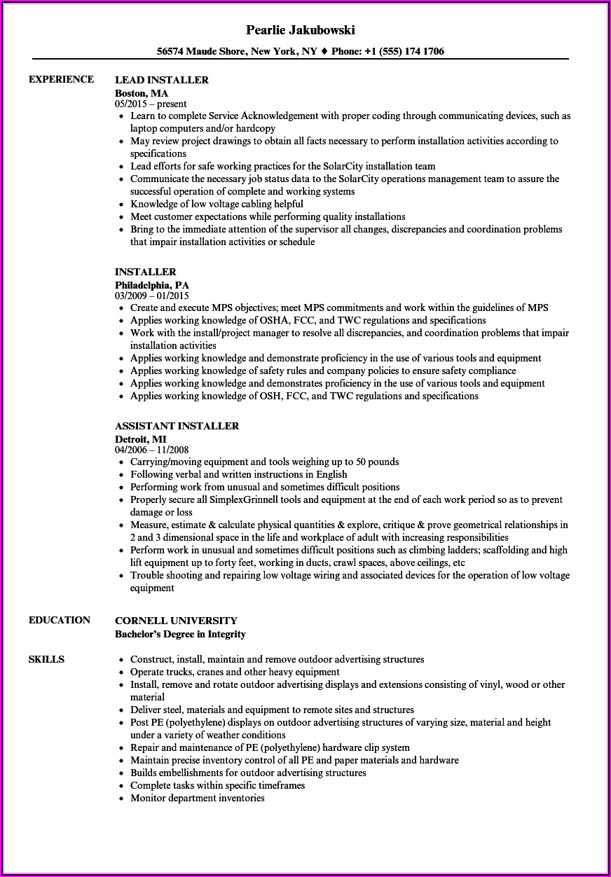 Hvac Lead Installer Resume