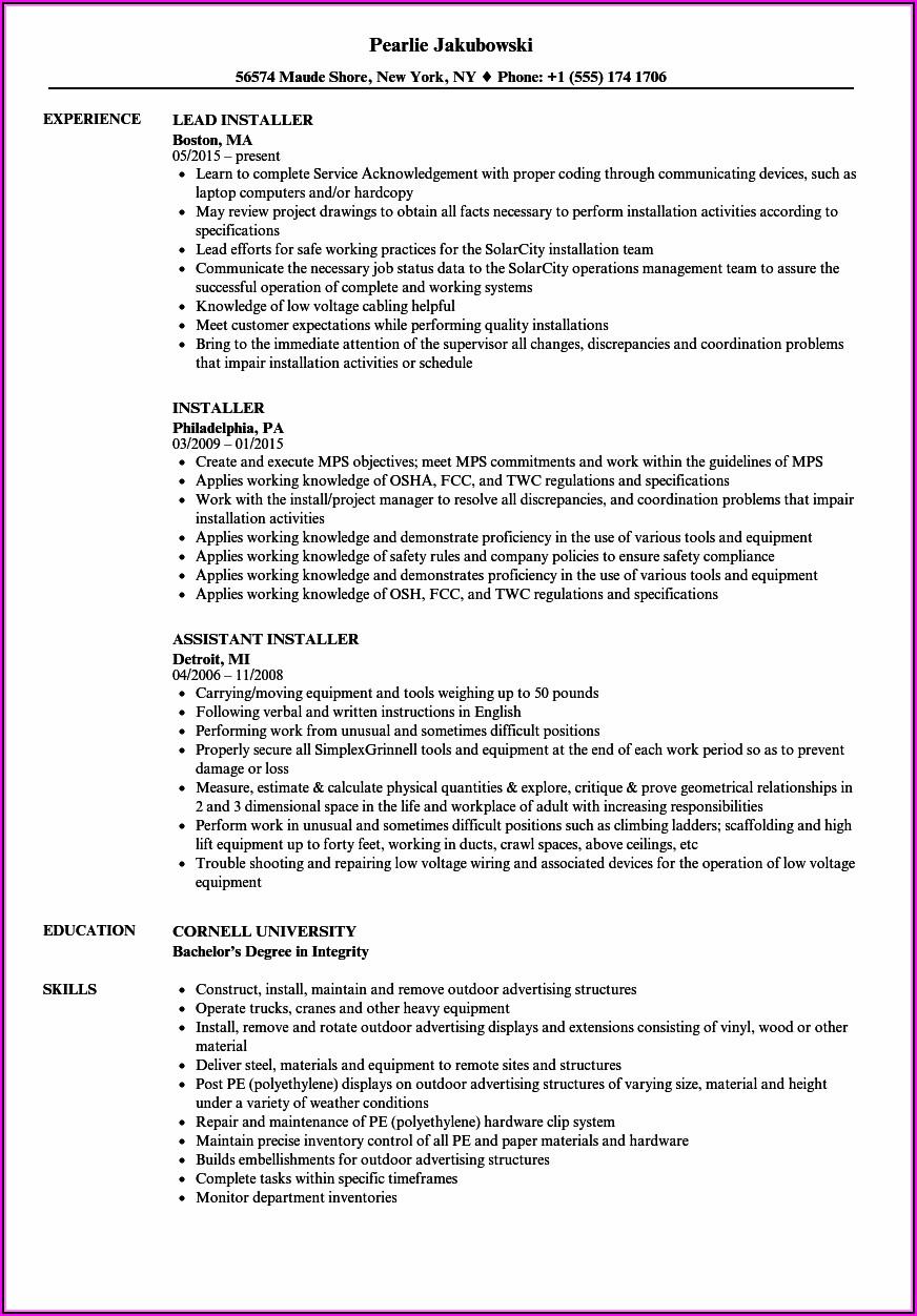Hvac Sheet Metal Installer Resume