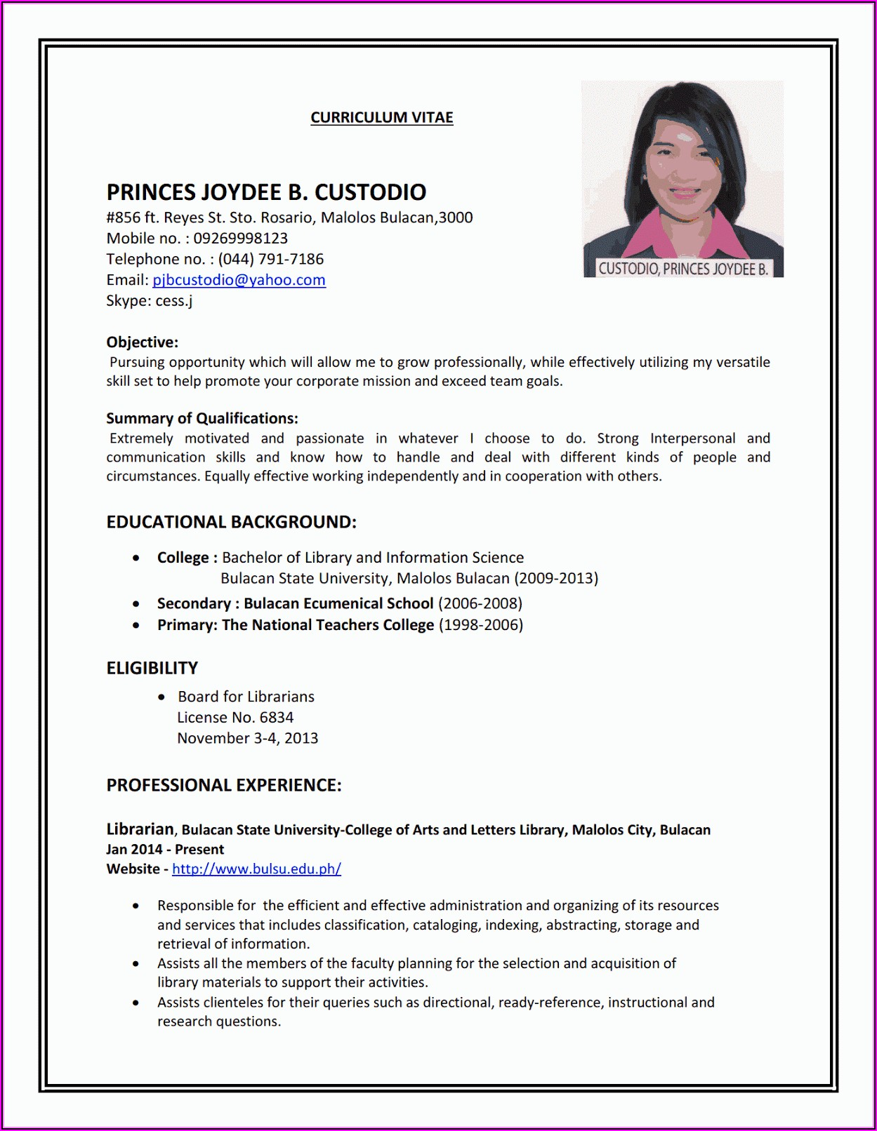 I Want To Make A Resume For Job