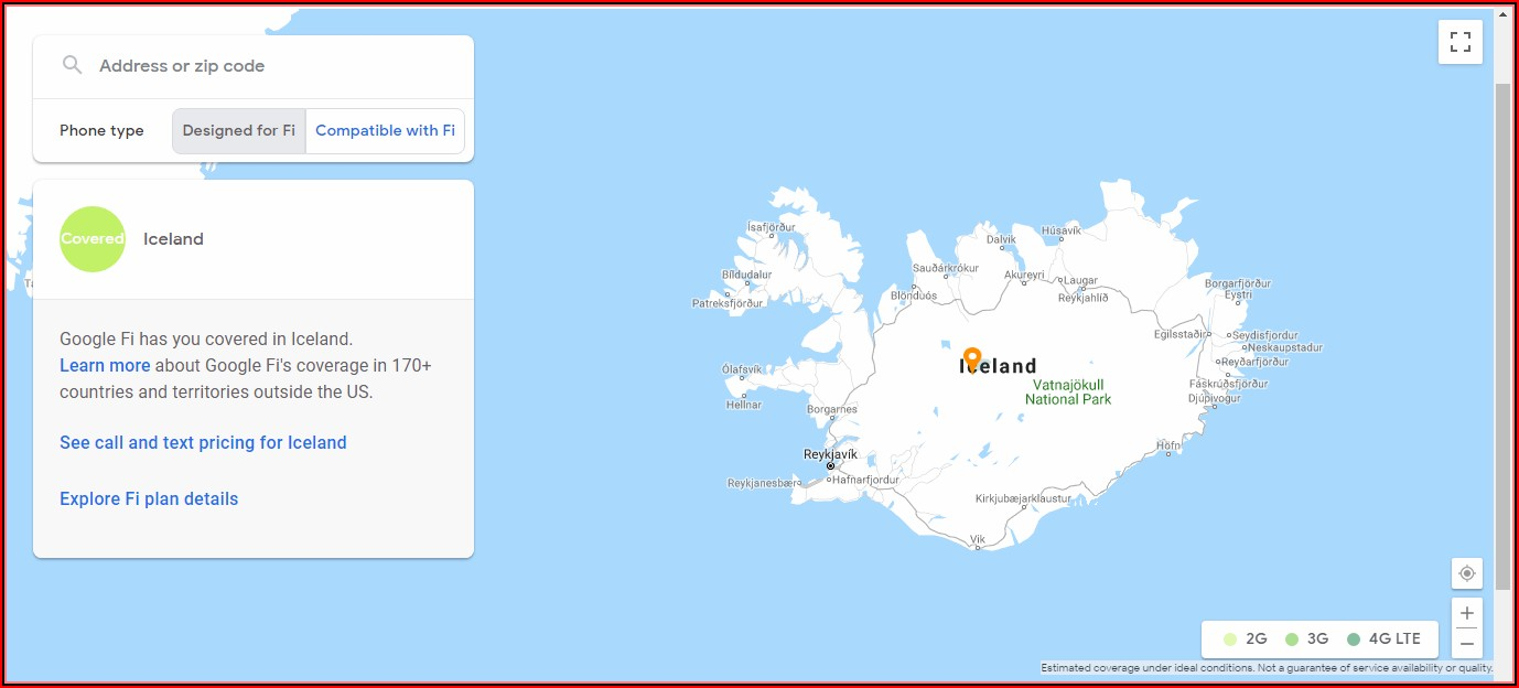 Iceland Cell Phone Coverage Map