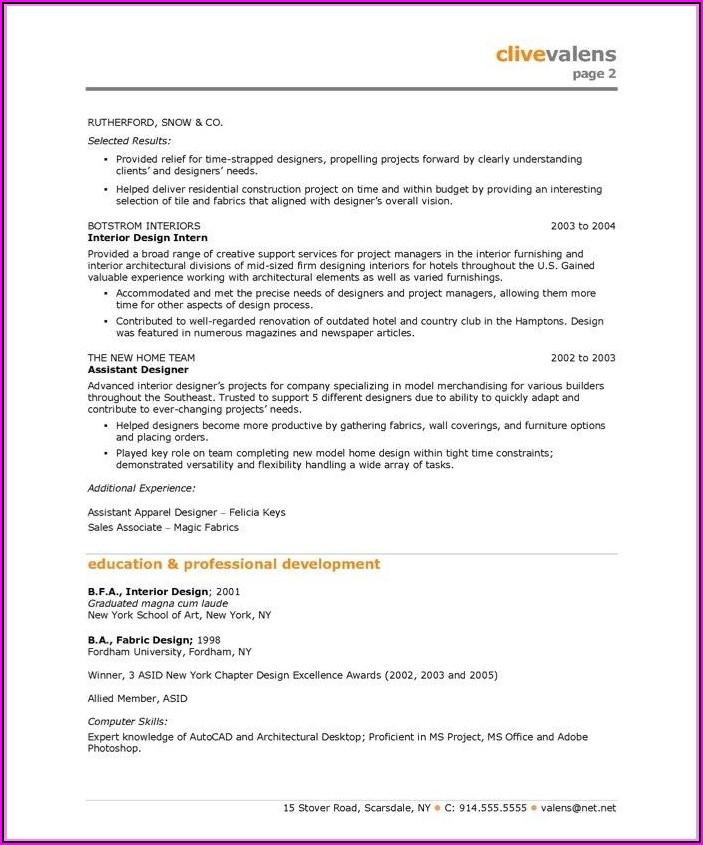 Interior Designer Resume Word Format Download