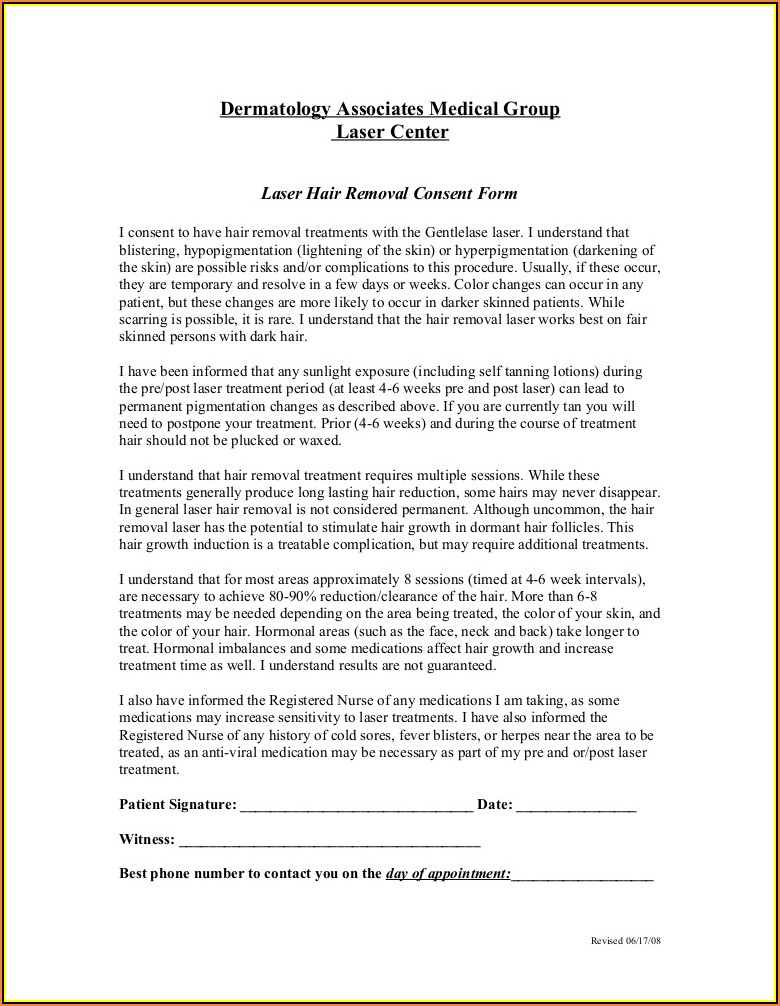 Ipl Laser Hair Removal Consent Form
