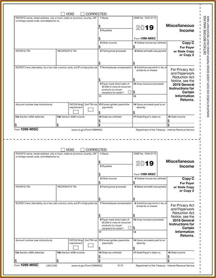 Irs 1099 Misc Forms 2019