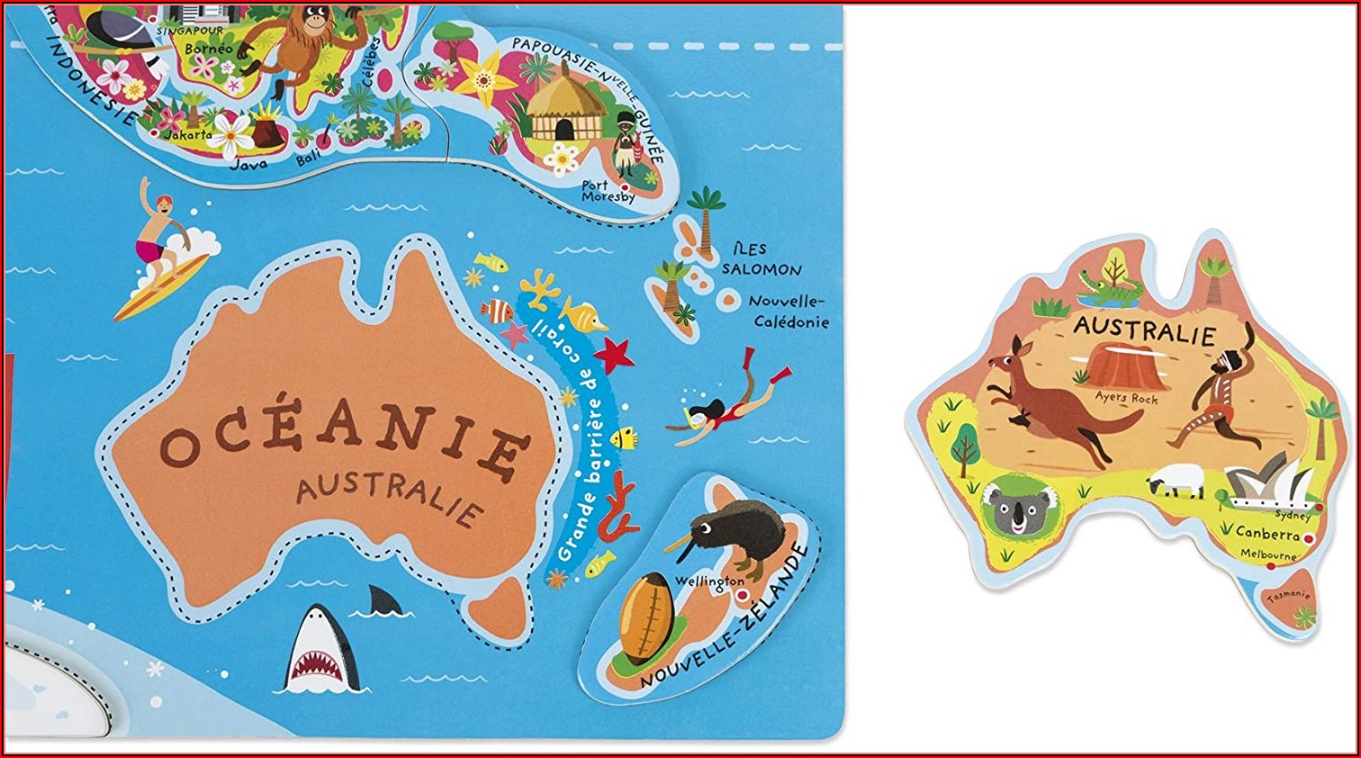 Janod J05500 Magnetic World Map Francais Floor Puzzles