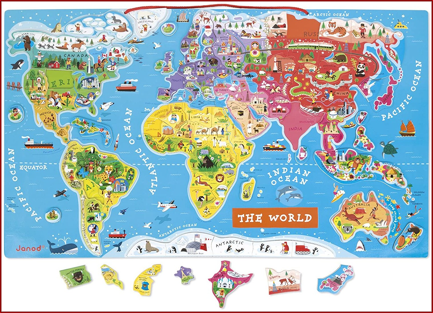 Janod J05504 Wooden Magnetic World Map Puzzle