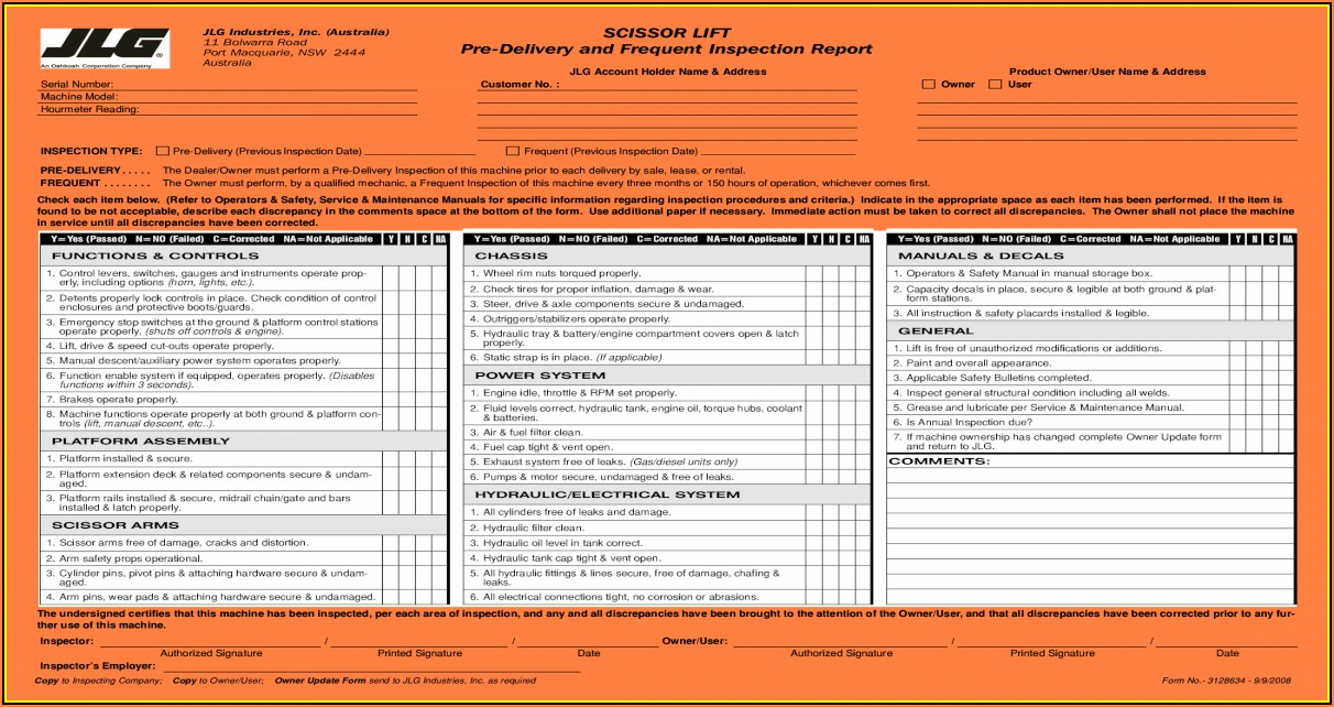 Jlg Manlift Inspection Forms