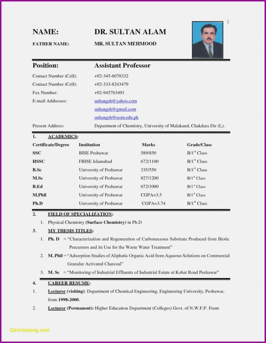 Job Resume Free Download