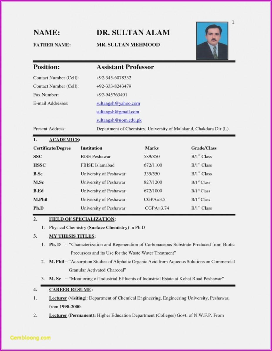 Job Resume Free Download