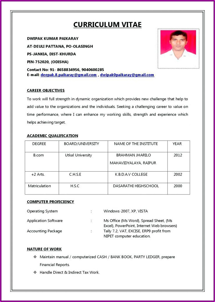 Job Resume Pdf File Download Free