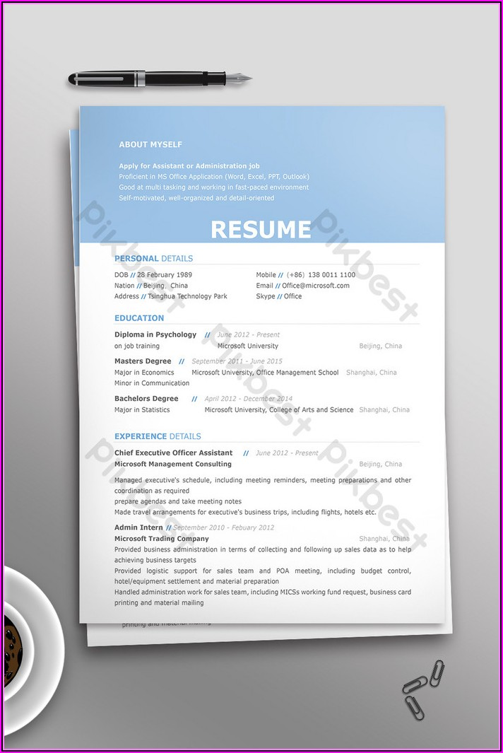 Job Resume Template Download Free