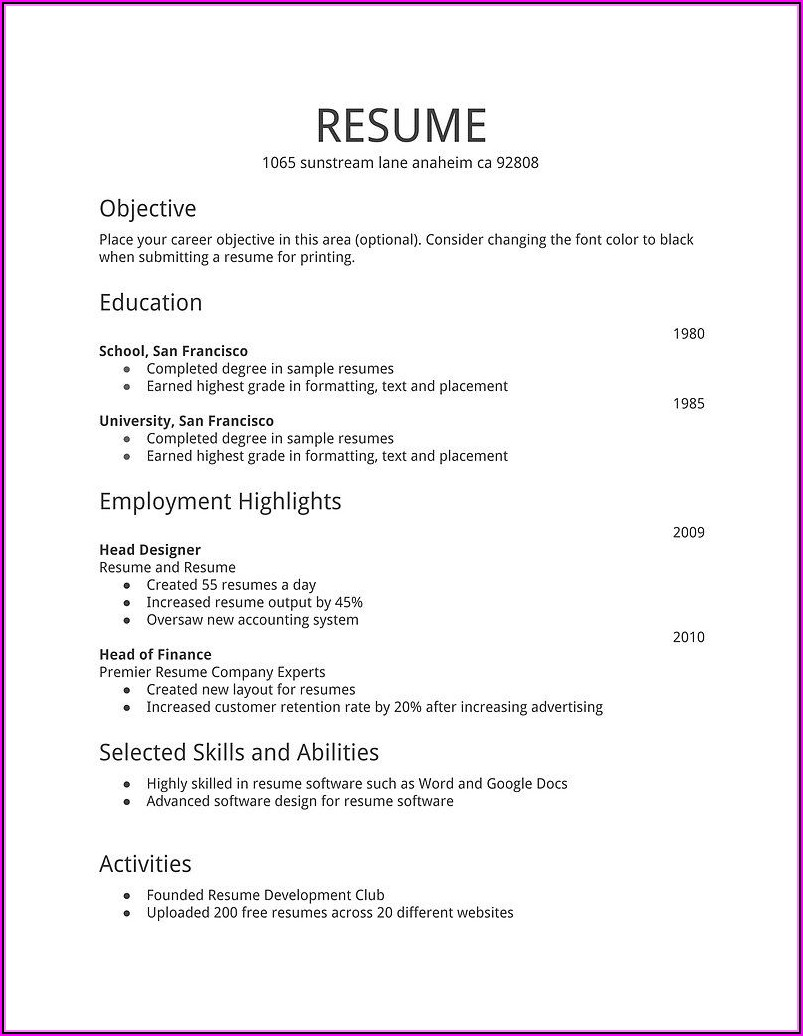 Job Resume Template Free Download