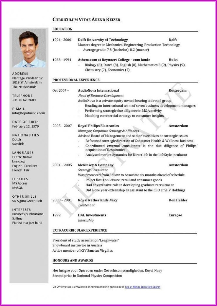 Job Resume Template Word Download