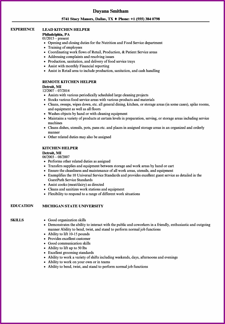 Kitchen Helper Resume Template