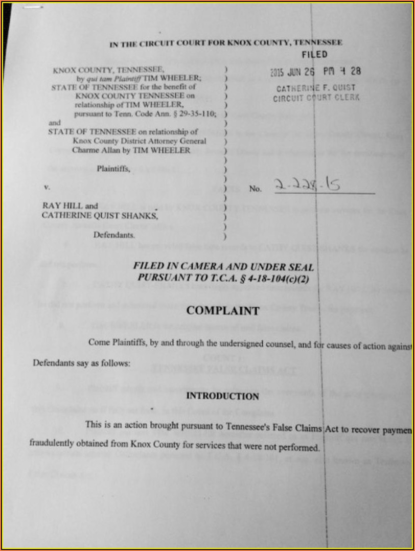 Knox County Tn Circuit Court Filing Fees