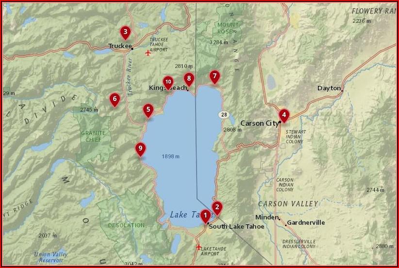 Lake Tahoe Hotels Map