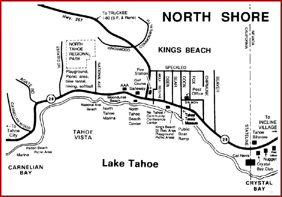 Lake Tahoe South Shore Hotels Map