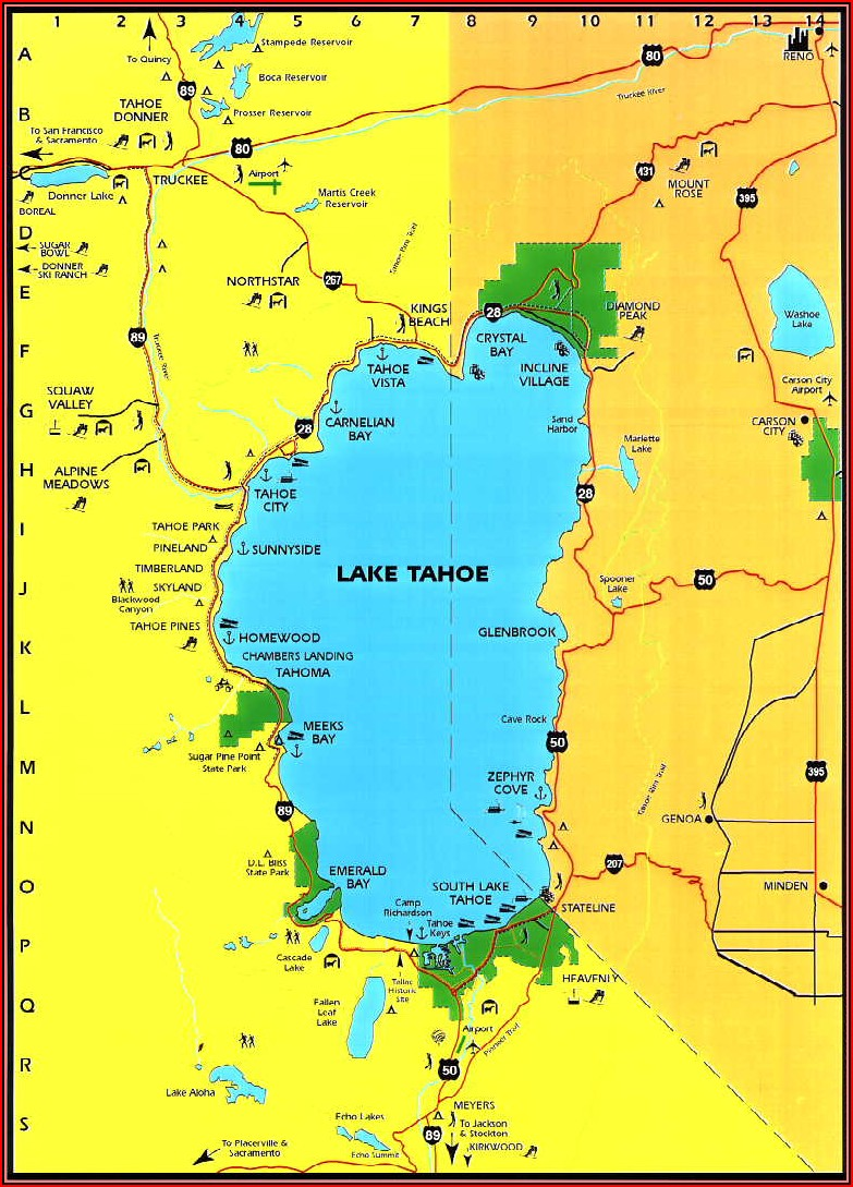 Lake Tahoe Stateline Hotels Map