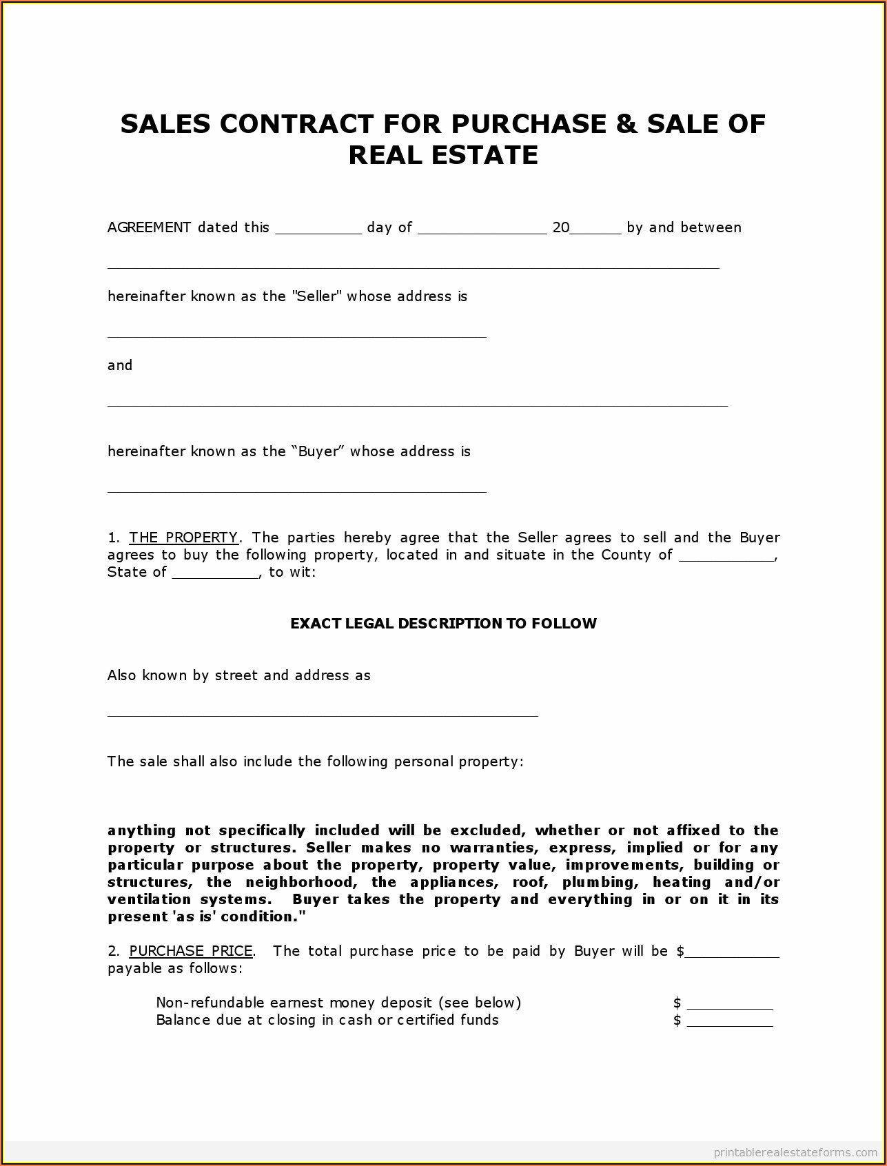 Land Contract Form Pdf Ohio