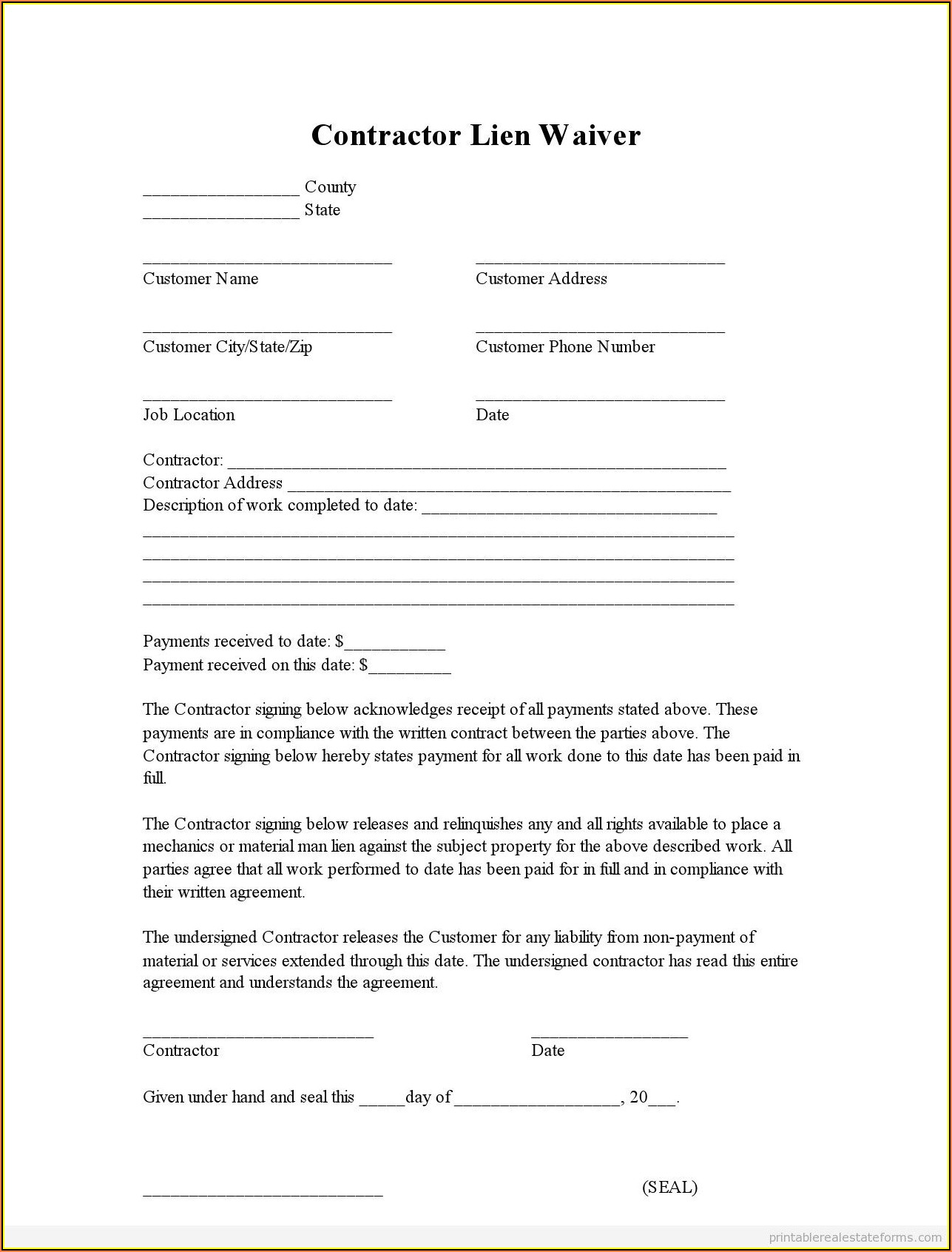 Landlord Lien Waiver Form