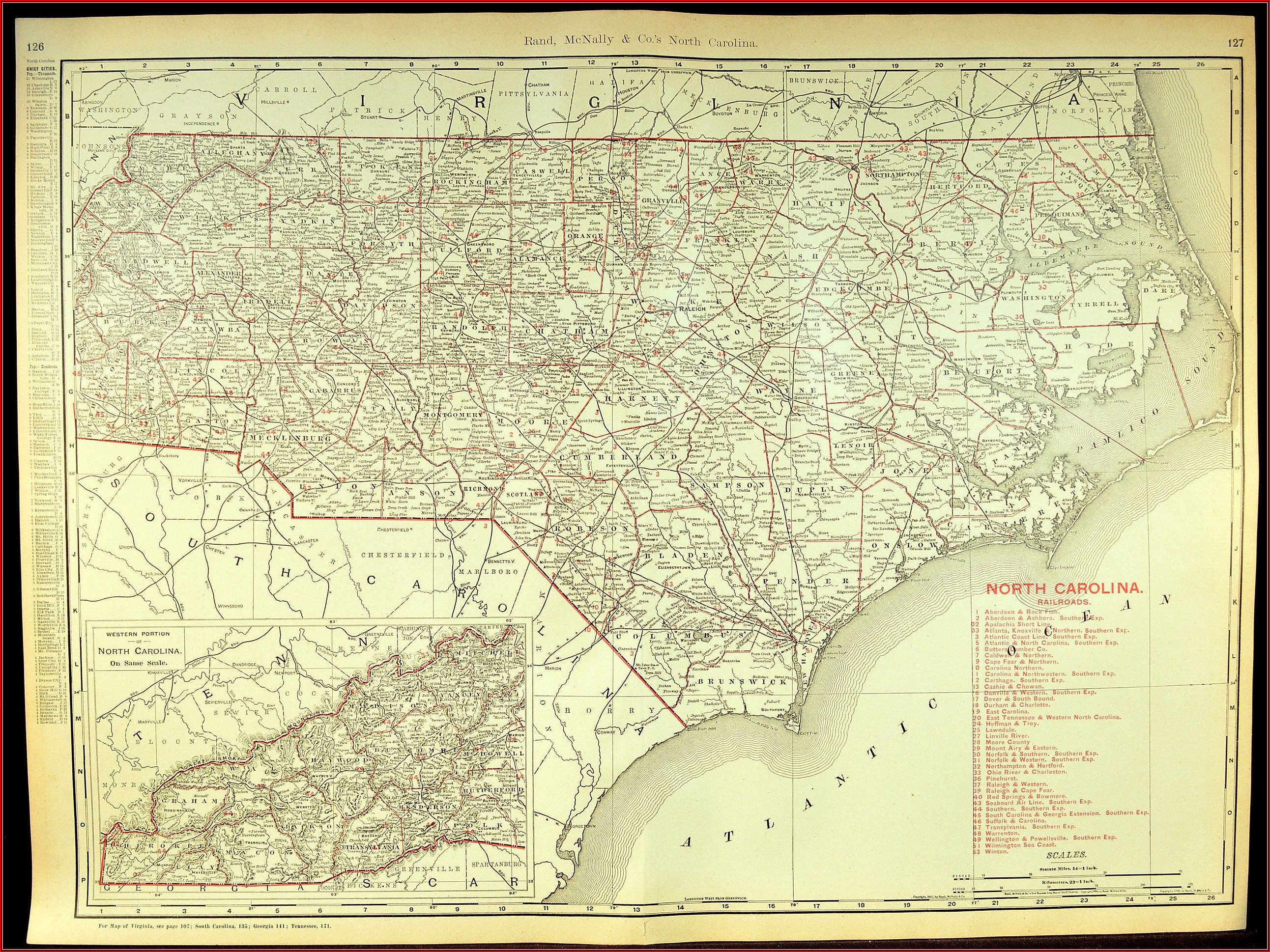 Large Wall Map Of North Carolina