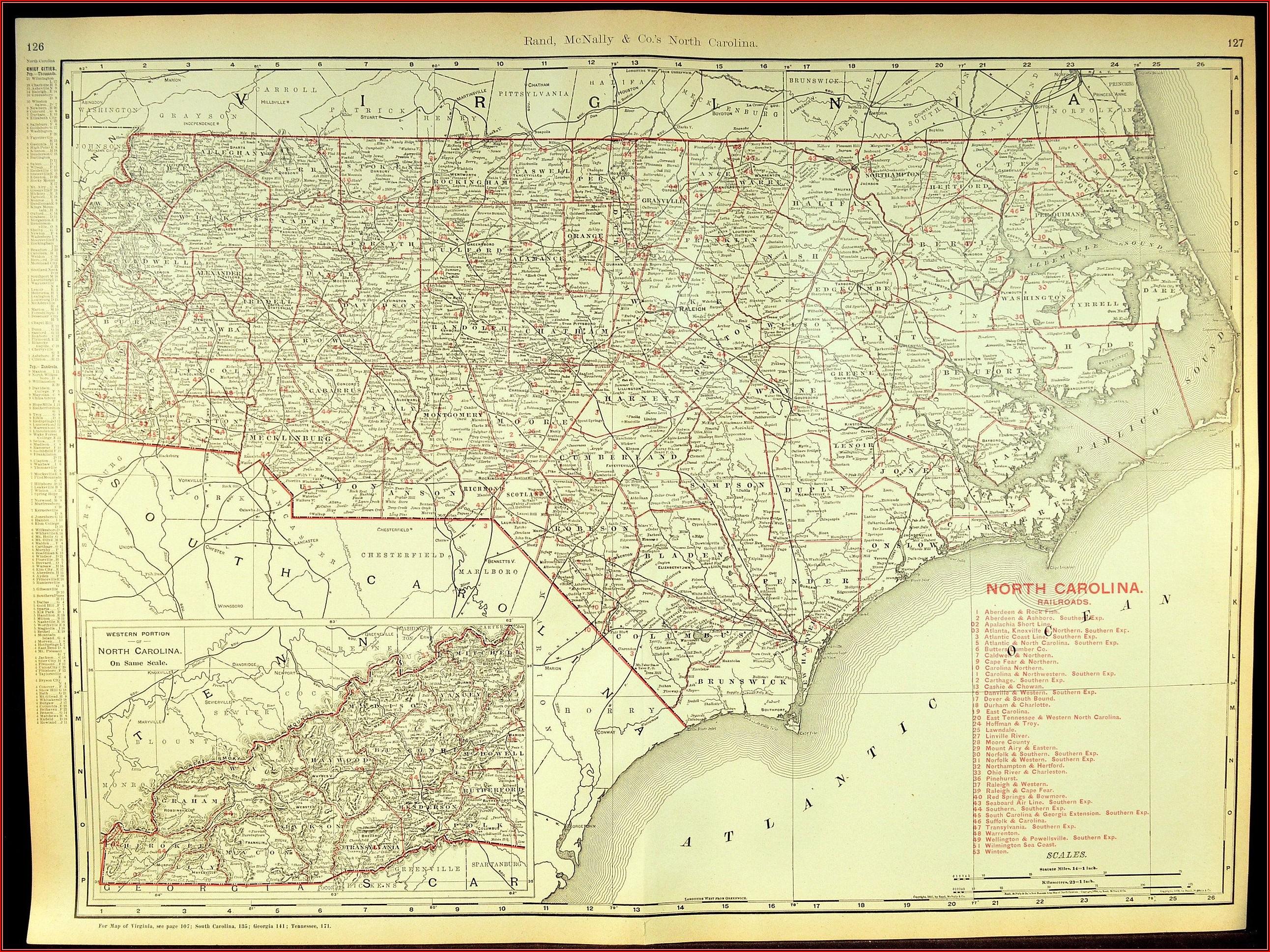 Large Wall Map Of North Carolina