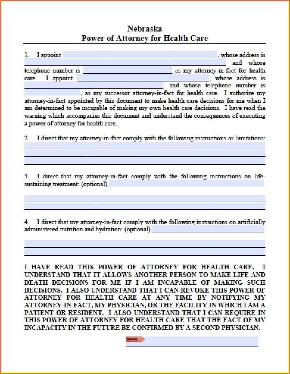 Limited Power Of Attorney Form Nebraska