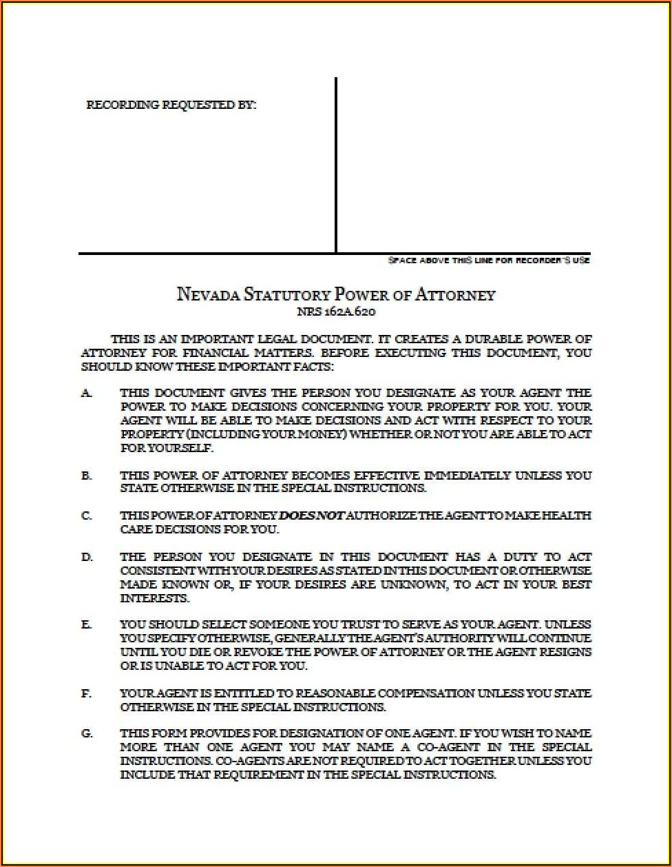 Limited Power Of Attorney Form Nevada