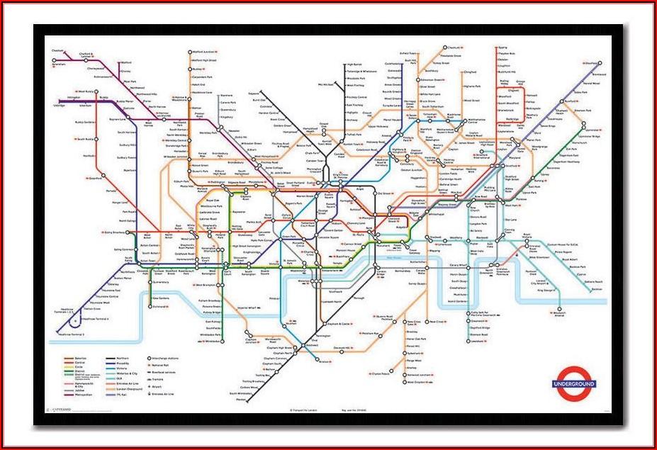 London Underground Map Poster Framed
