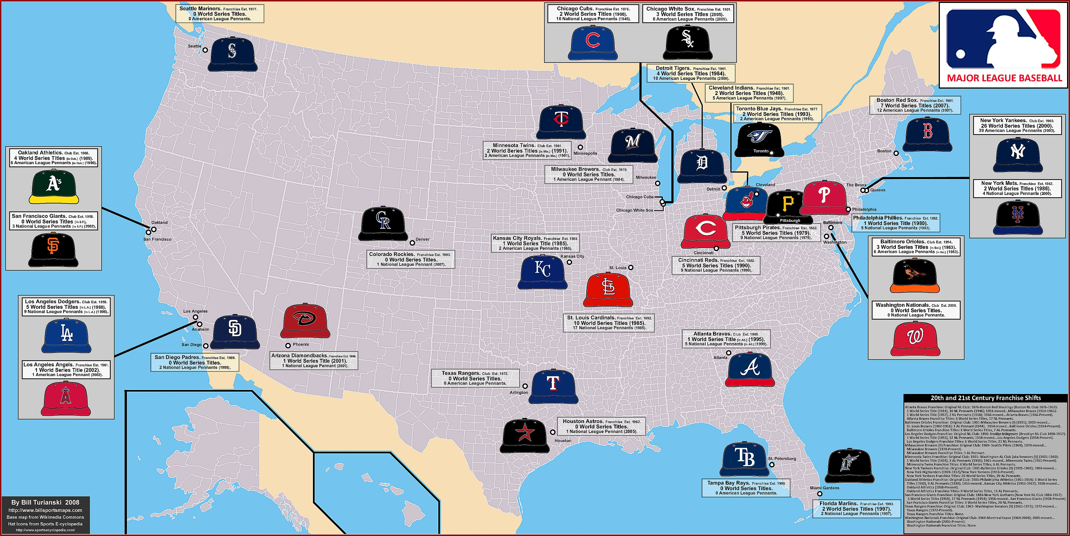 Major League Baseball Cities Map