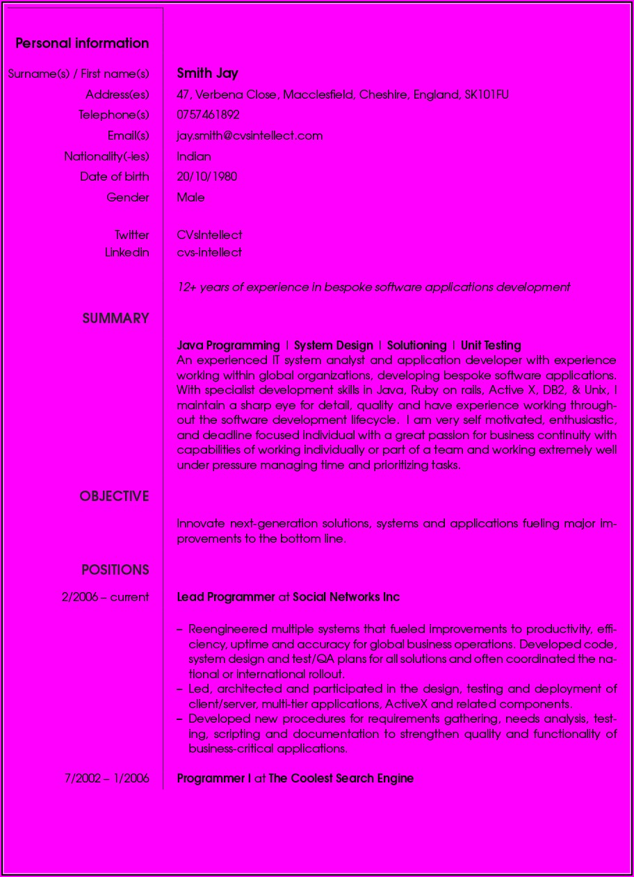 Make A Free Printable Resume Online
