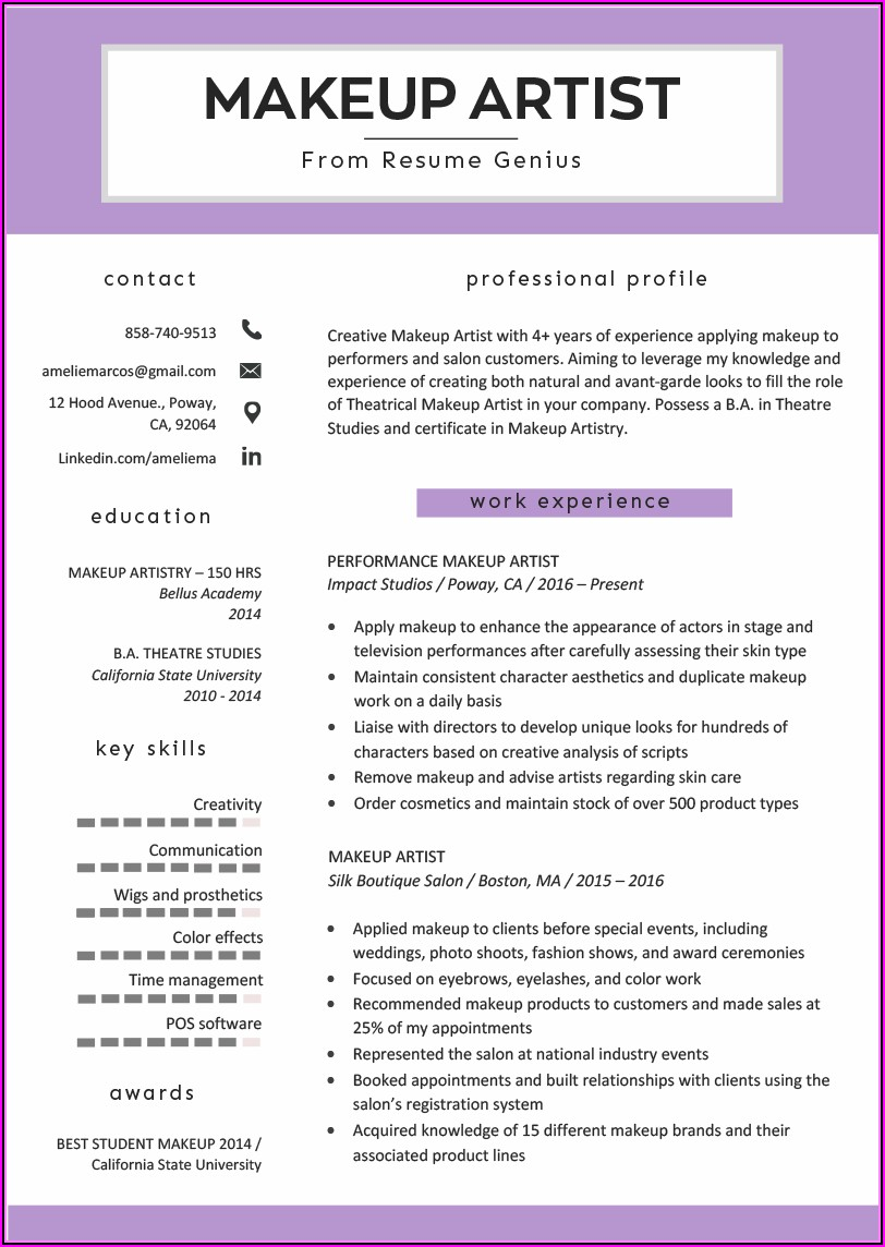 Makeup Artist Cv Template Word