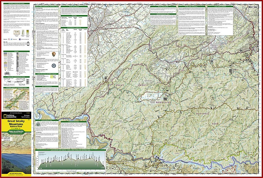 Map Great Smoky Mountains National Park