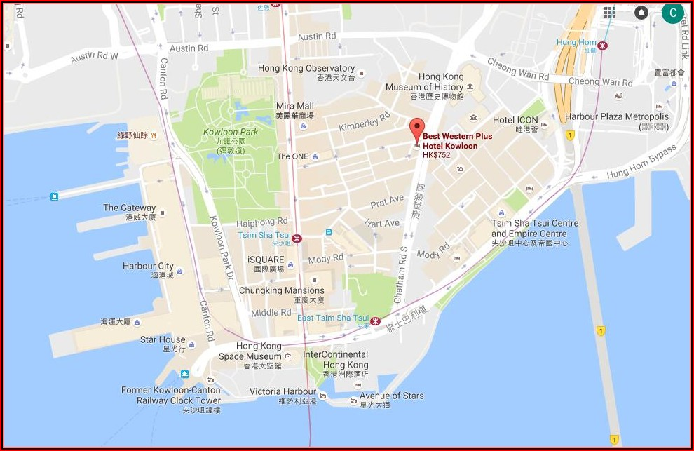 Map Hotels Kowloon Hong Kong