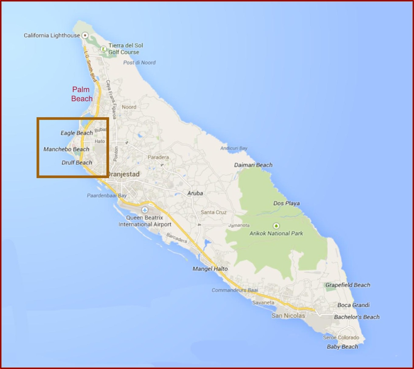 Map Hotels Palm Eagle Beach Aruba