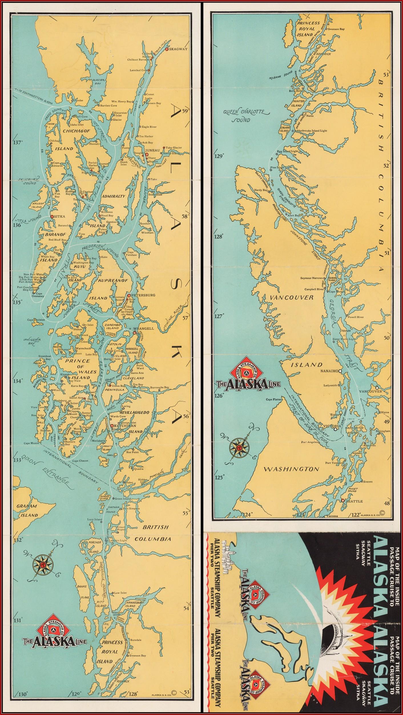 Map Inside Passage Alaska