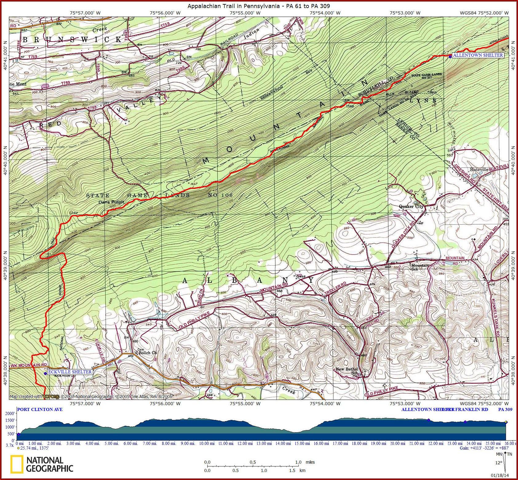 Map Of Appalachian Trail In Pa