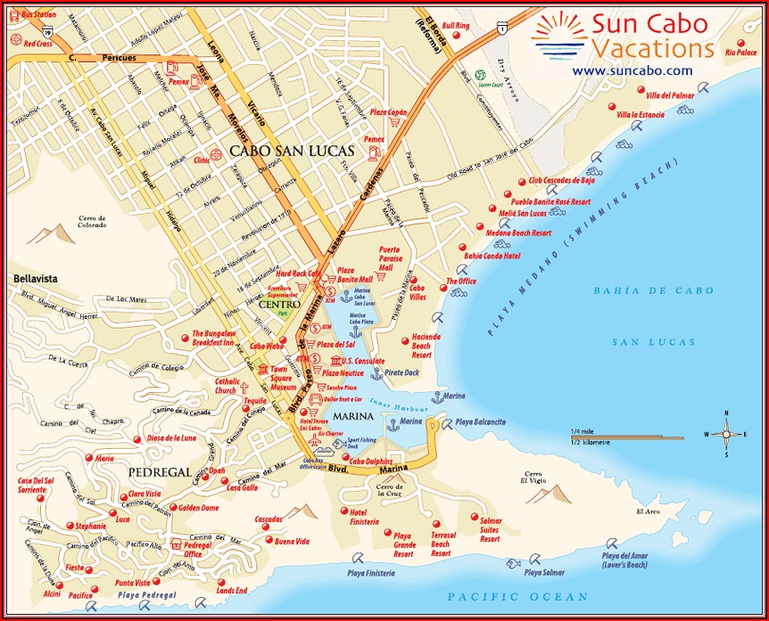 Map Of Beachfront Hotels In Cabo San Lucas