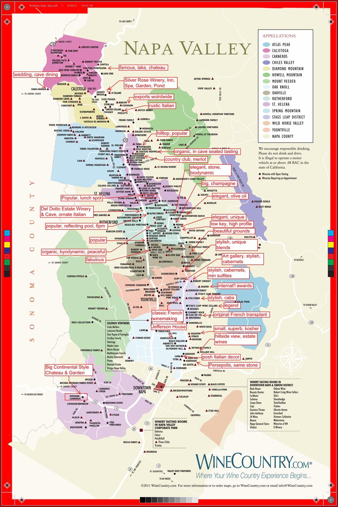 Map Of California Cities Napa Valley