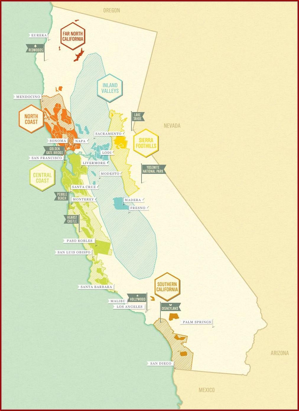 Map Of California Wines