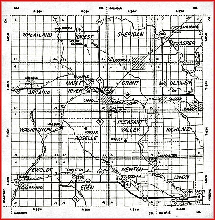 Map Of Carroll County Iowa Townships