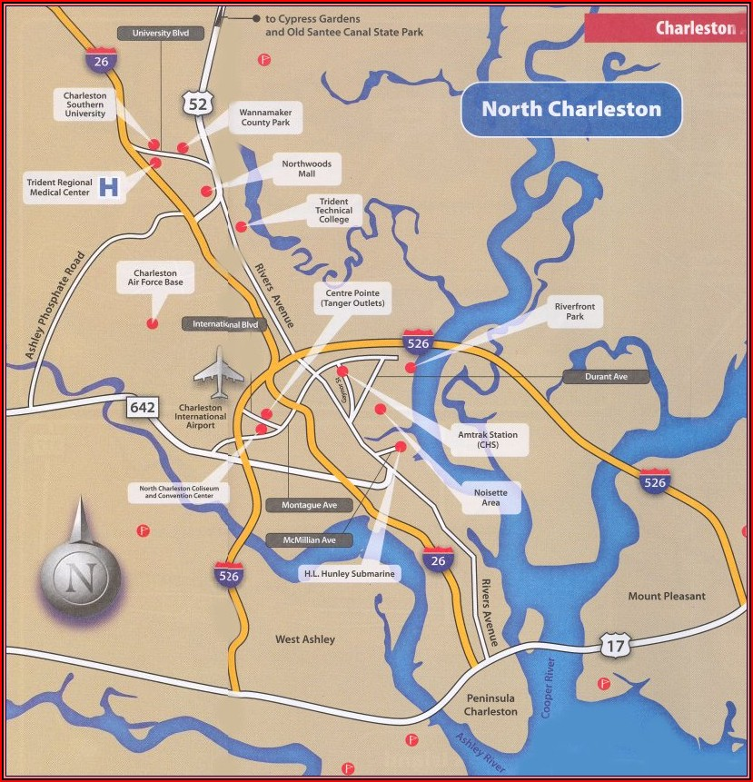 Map Of Charleston Sc Accommodations