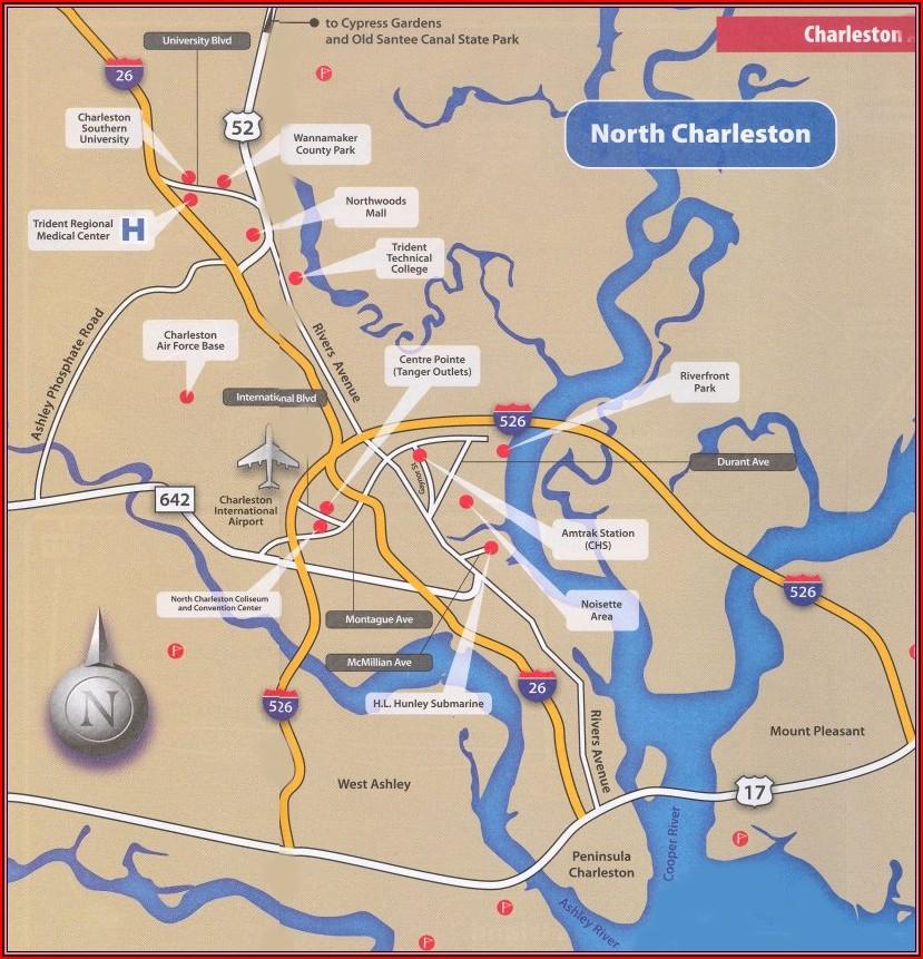 Map Of Charleston Sc Accommodations