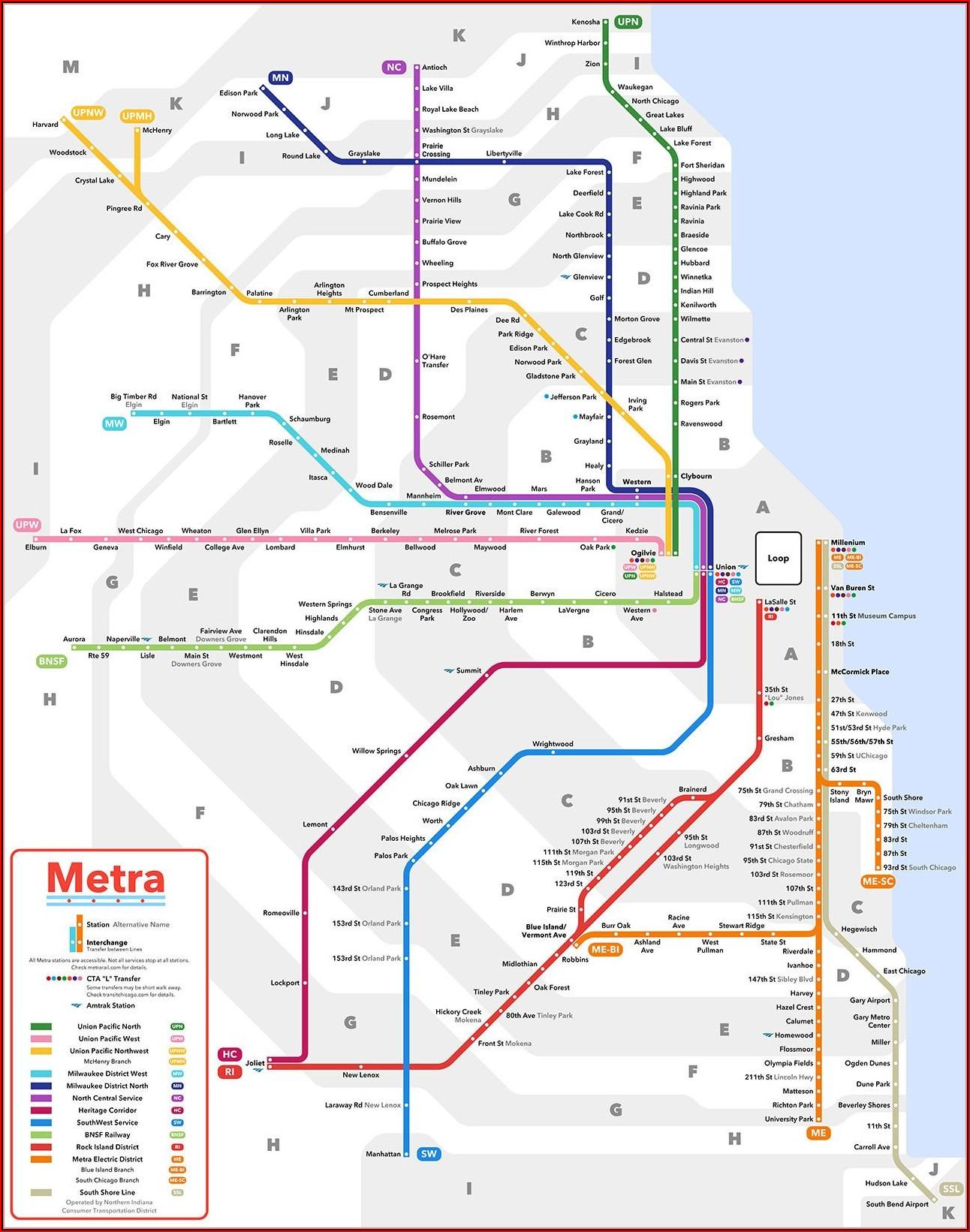 Map Of Chicago Transit Metra