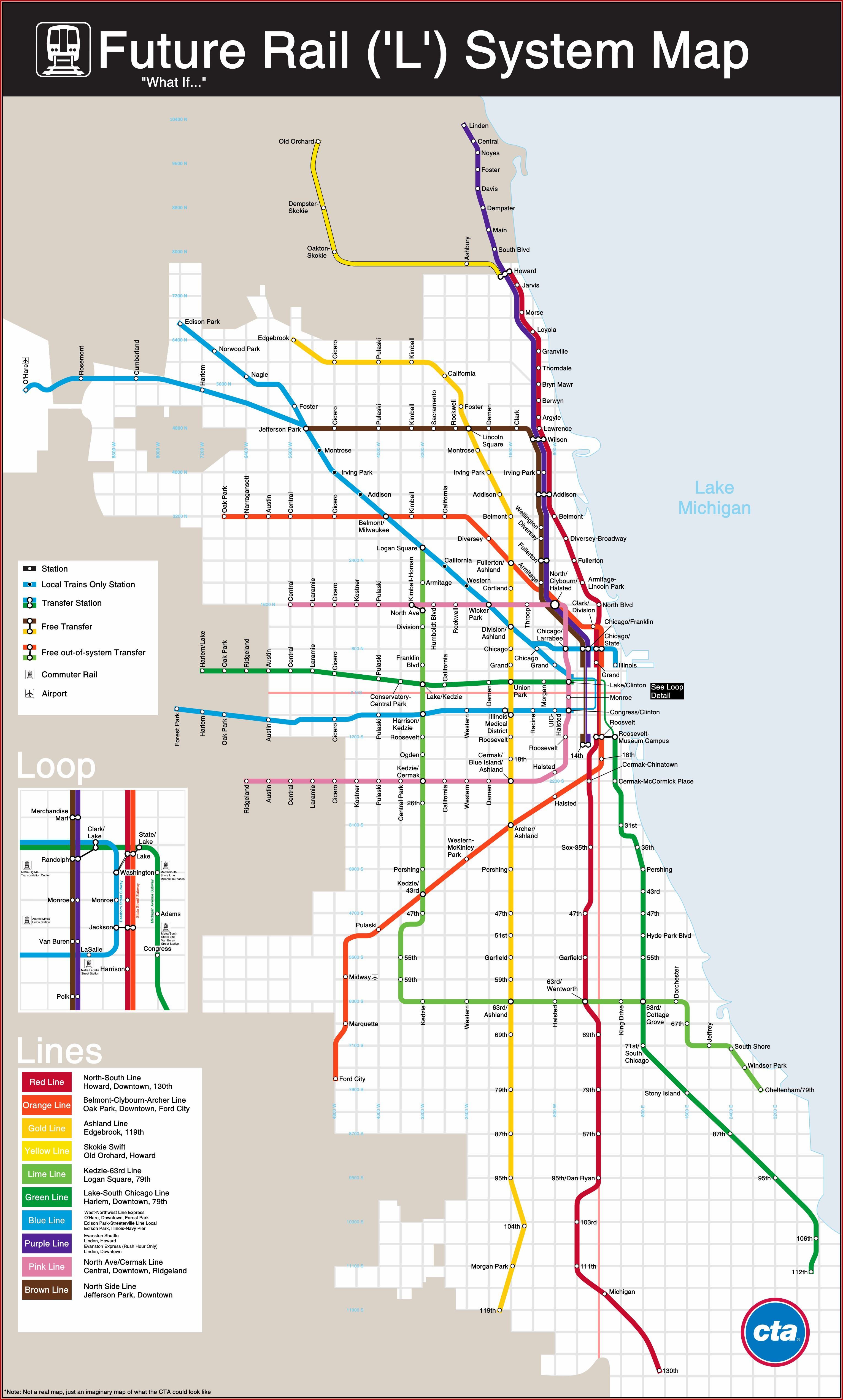 Map Of Chicago Transit Orange Line