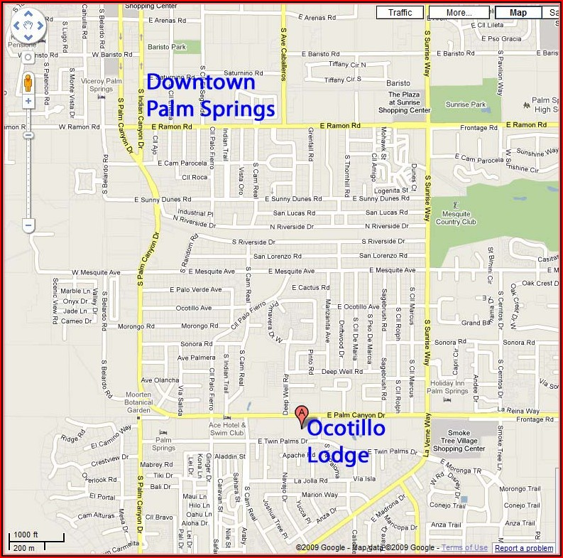 Map Of Downtown Palm Springs Hotels