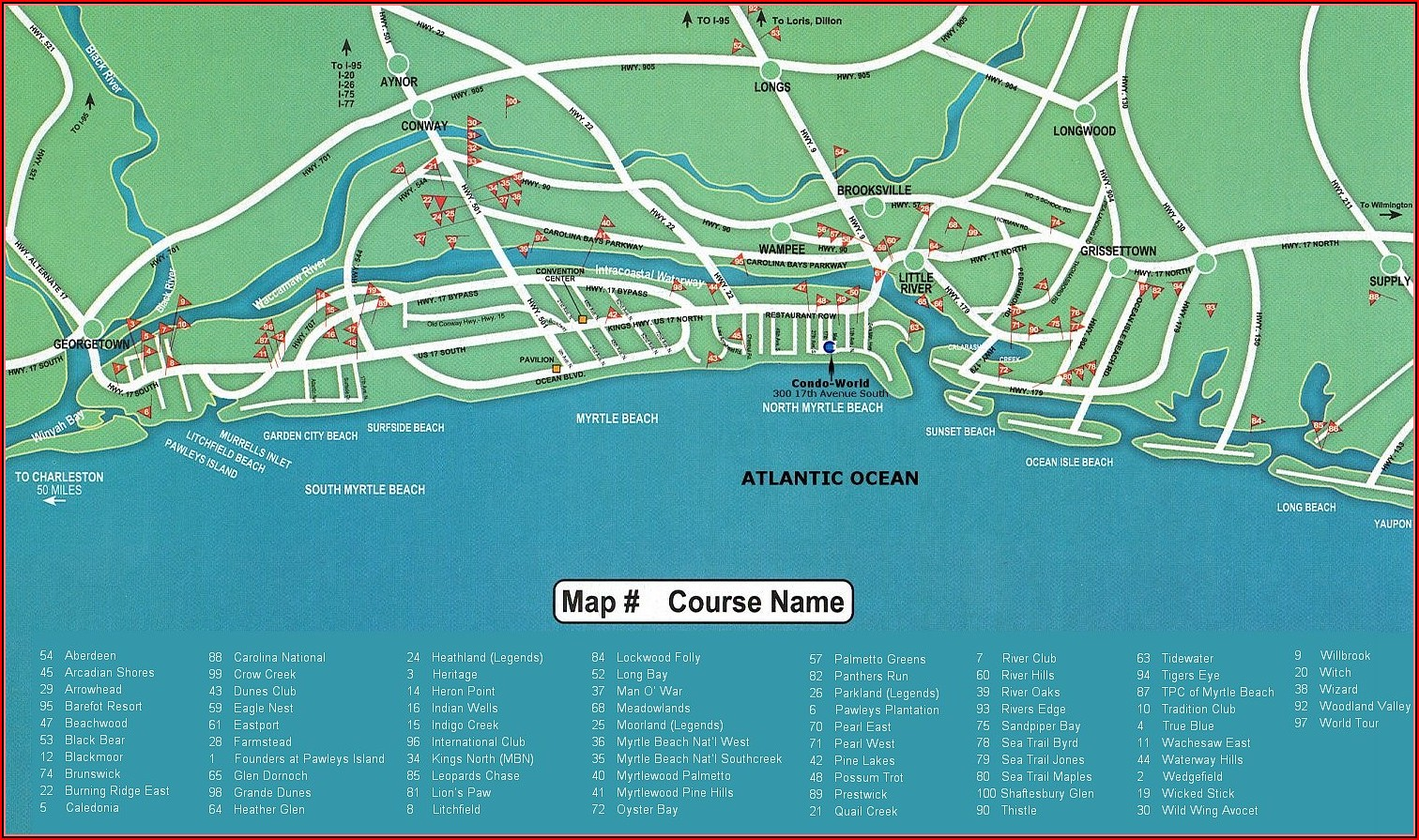 Map Of Golf Courses In North Myrtle Beach Sc