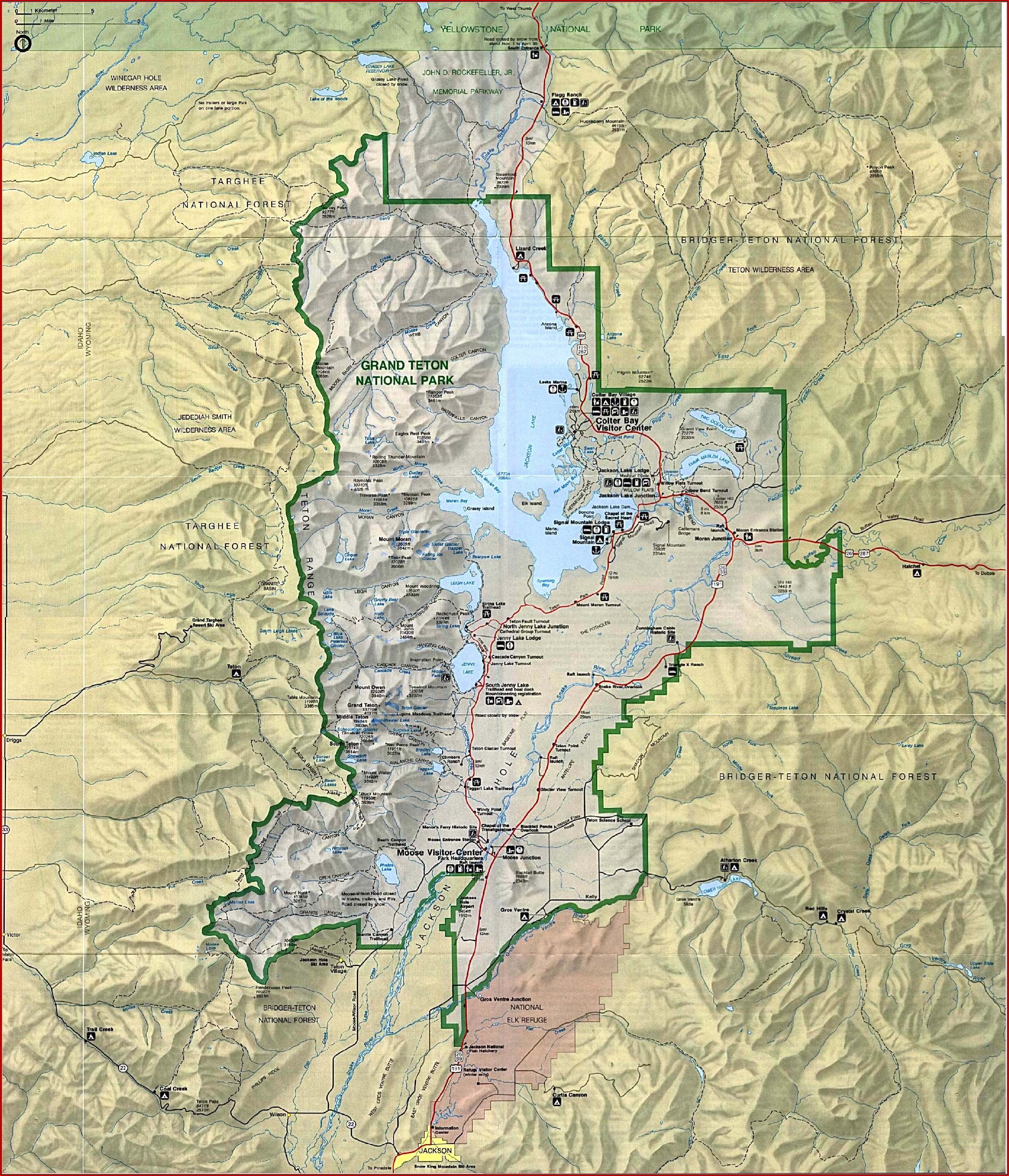 Map Of Grand Tetons National Park