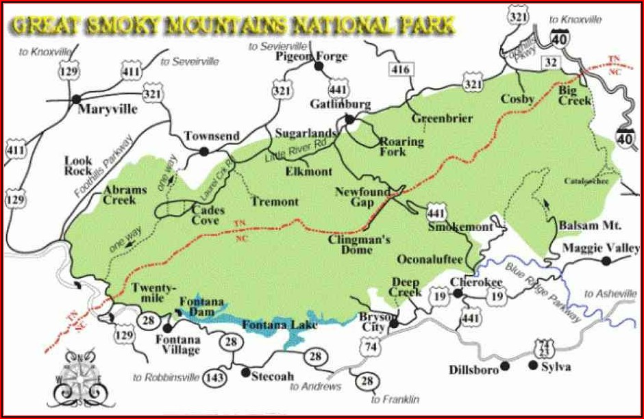 Map Of Great Smoky Mountain National Park